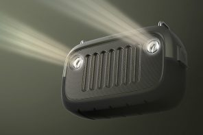 This Jeep inspired outdoor speaker plays your music and lights up your path!