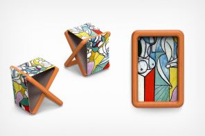 This stool folds up and turns into a painting with a frame!