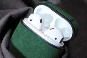 This suede case gives your Airpods some Midnight Green magic too