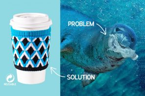 100% ocean bound plastic converted into adorable, reusable sleeve for your coffee cup