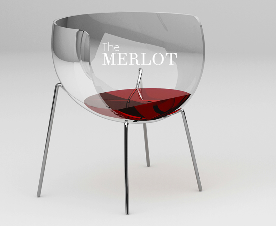 This amusing wine glass shaped chair adds the buzz your living