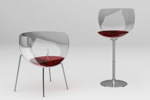 This amusing wine glass shaped chair adds the buzz your living space needs!