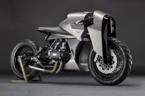 This custom modified 1977 Honda Gold Wing flaunts its Samurai inspiration