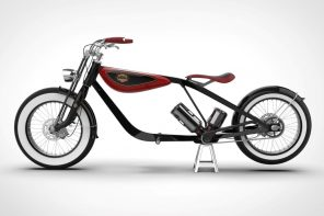 Carota's Classic E-bike is a minimal interpretation of a cruiser, with a V-twin power train