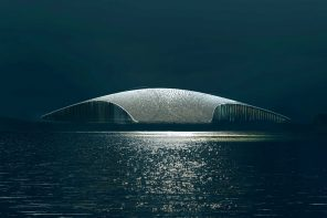 A whale-inspired structure at the ocean's edge designed to watch the majestic creatures!