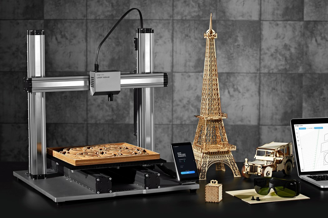 "Snapmaker 2.0 is a desktop 3D Printer, Laser Engraver, CNC machine that lets you ""Design From Home"""
