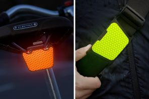 FLECTR's reflective clip-on instantly makes pedestrians and cyclists visible in low-light settings