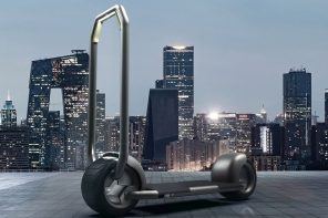 Future needs designs like this flat-packing electric scooter that comes with its own automated storage system!