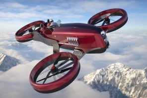 This retro-future 6-propeller racing drone is inspired by Ferrari's F1 cars from the 50s