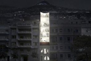 A futuristic transparent residential space on the bustling streets of Athens!