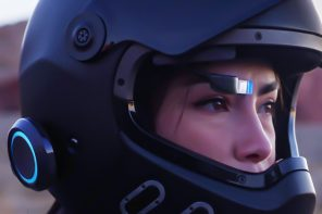 This HUD instantly upgrades your existing helmet with a holographic GPS and Bluetooth audio