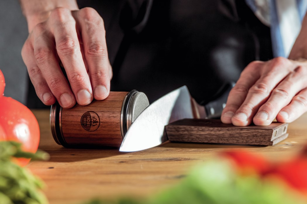 This innovative rolling knife-sharpener eliminates any chance of human error!