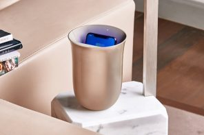 The Lexon Oblio wirelessly charges and sanitizes your phone at the same time