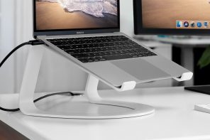 This innovative curvy stand for the MacBook cantilevers it beautifully, like the new iPad Pro
