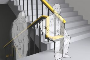 A simple design-upgrade to the staircase handrail allows elders to take a break while climbing