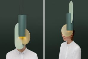 This series of sheet-metal lamps look like Suprematist hanging planters