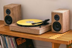 This linen and wood record player is perfect for hyping yourself up at home!