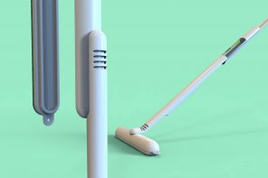 This Swiffer-inspired bathroom cleaning brush even holds your detergent bottle