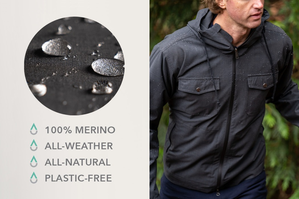 World's only weather-proof jacket that's made out of 100% merino wool