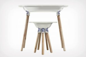 The Delft Stool and Table's design has an unlikely source of inspiration – Oriental Pottery