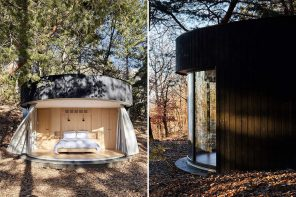 This panoramic view cabin keeps bugs out using a unique Japanese technique