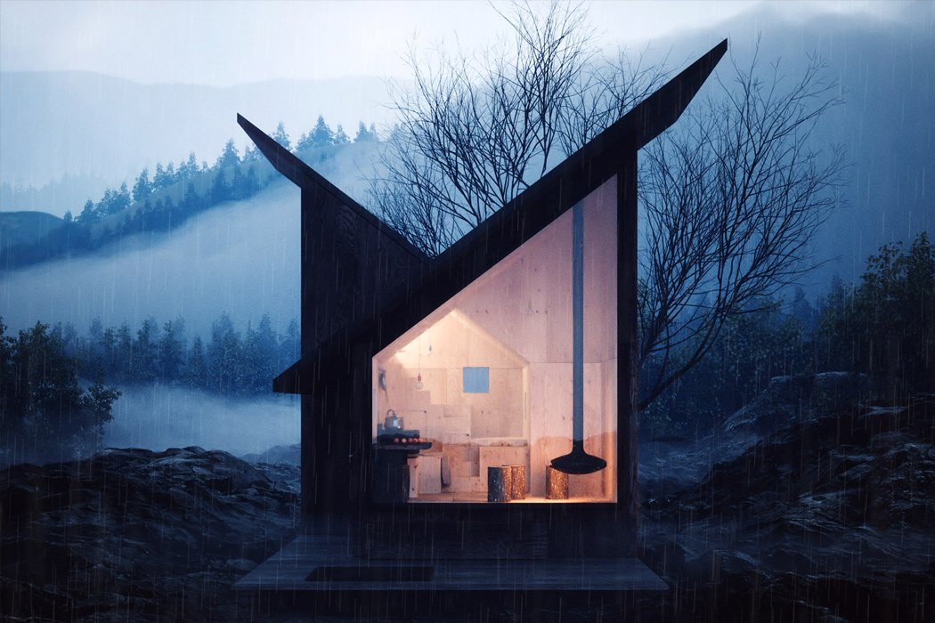 This geometric wooden cabin is perfect for a socially distant getaway!
