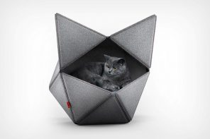 This geometric cat-shelter looks like a minimalist cat-head!