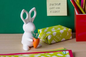 This bunny-shaped scissor and paper-clip holder is 'hoppy' to help!