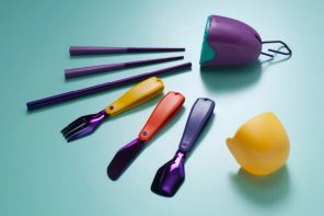 Pharrell Williams co-designed a gorgeous looking cutlery set made from recycled CDs