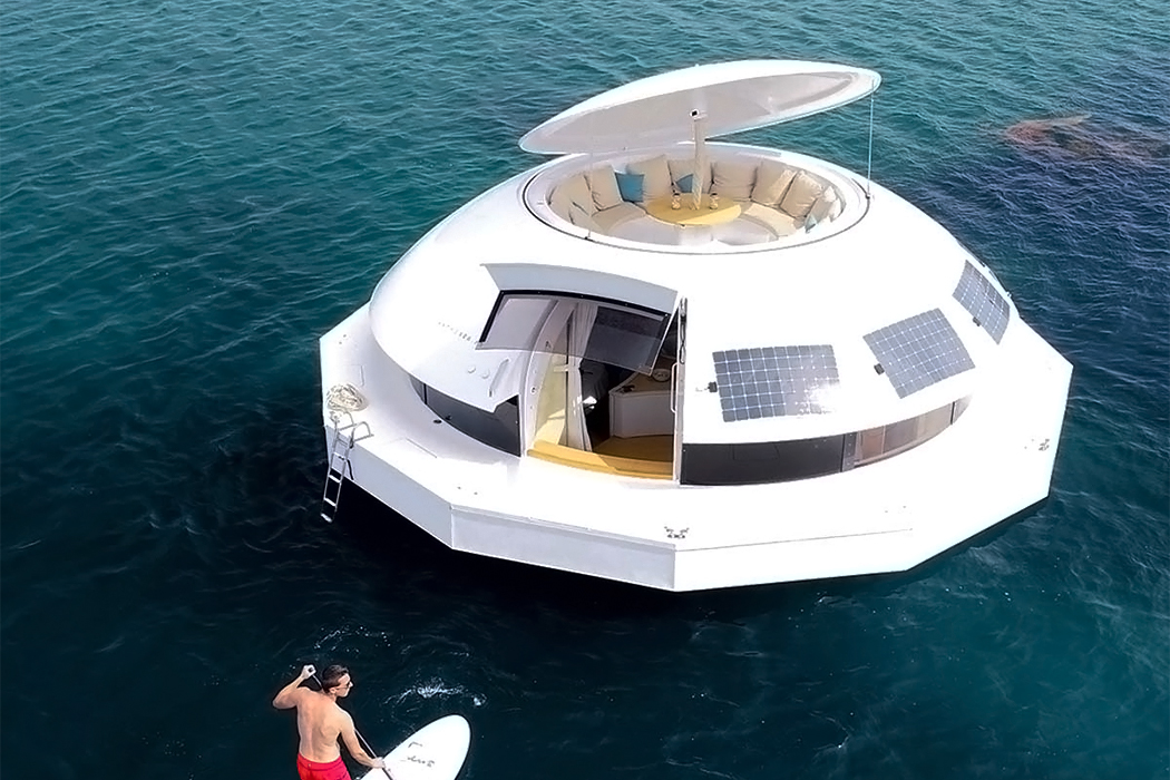 This 100% electric pod inspired by James Bond is the worlds first floating eco-hotel suite!
