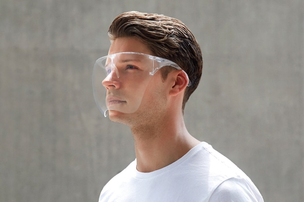 This face shield worn like glasses is designed to keep you fashionably safe