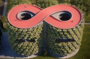 This infinity track topped school is a vertical forest that reduces air pollution!