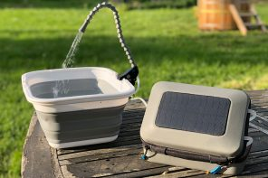 This solar powered water purifier & pump fits in your backpack to create the ultimate camping experience!