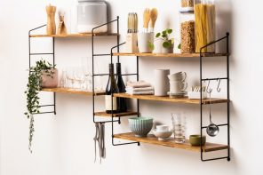 This modular shelf is made from more than 4,000 recycled bamboo chopsticks!