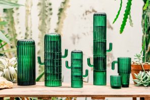 Creative green glassware stacks up to look like a cactus!