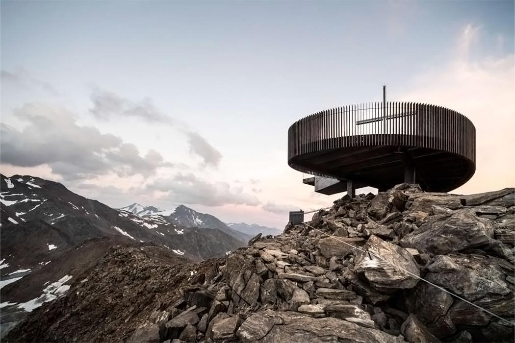 This futuristic observation deck hovers 10,666 feet above the Italian Alps!