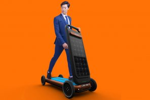 Solar-powered autonomous personal mobility scooter doubles as treadmill to help you stay fit!
