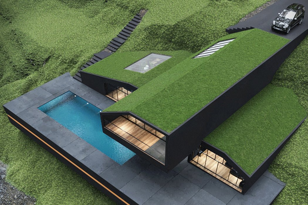Modern Architectural Design Goes Green With This Grass Roof Villa Yanko Design