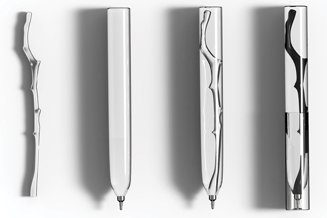 This transparent pen design crystalizes tree branches to make empty pens memorable!