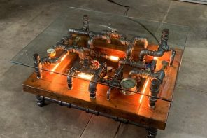 Nixie tubes light up this outrageously steampunk coffee table!