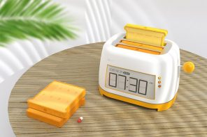 A bread-shaped pill box pops up from this toaster to playfully remind you to take care of yourself!