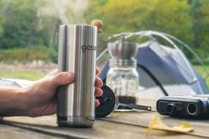 This portable coffee maker is powered by a solar bank that can charge five devices simultaneously!
