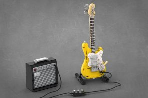 The iconic Fender Stratocaster electric guitar gets immortalized in LEGO, with an amplifier too!