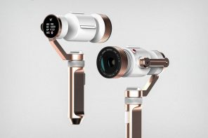This Rose-Gold and White Gimbal-operated camera stabilizes your videos with style!