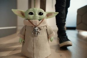 Mattel's Baby Yoda toy sports a remote control that lets it wiggle its ears and waddle around the house!