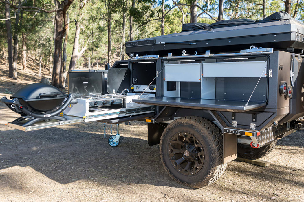 This off-grid trailer expands to include an outdoor shower and MasterChef worthy kitchen