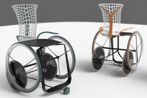 This comfort redefining wheelchair regulates body temperature while keeping the user's hands dirt-free!