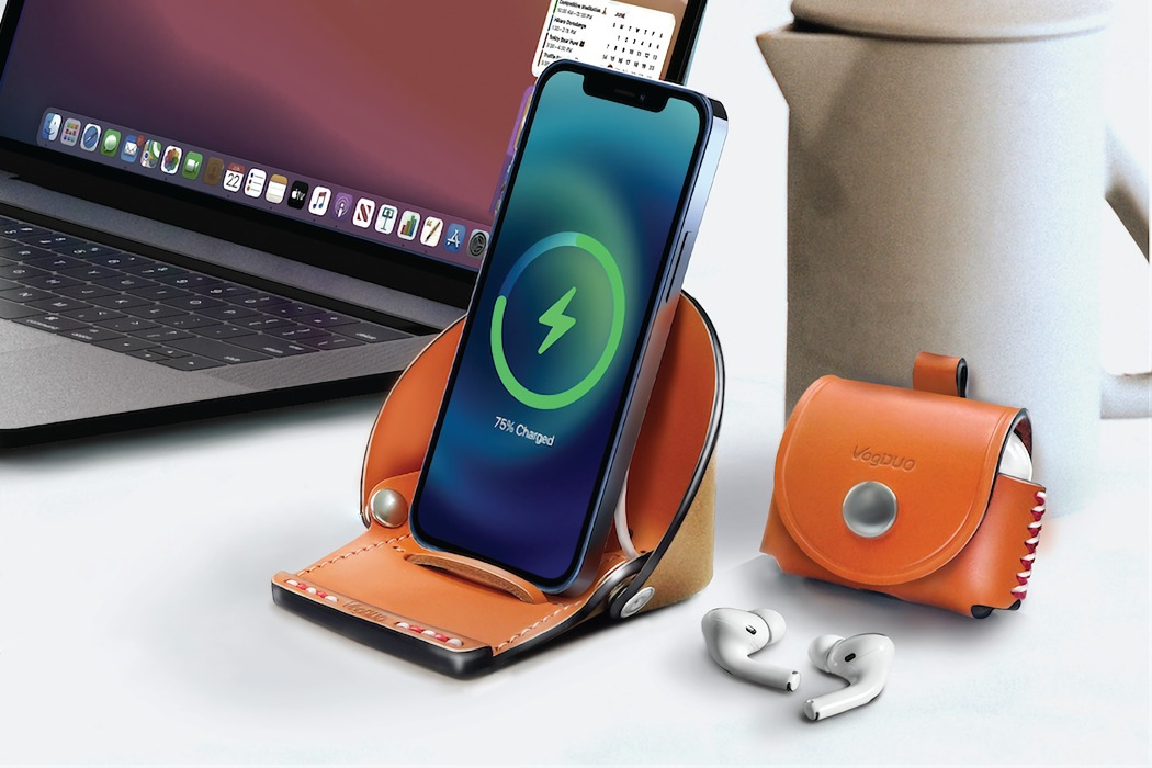 An Apple iPhone 12 stand + AirPods case that encloses your gadgets in premium handcrafted protection