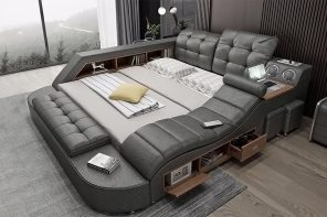 This ultimate bed doubles up as a couch and a WFH desk fitted with all the smart tech!