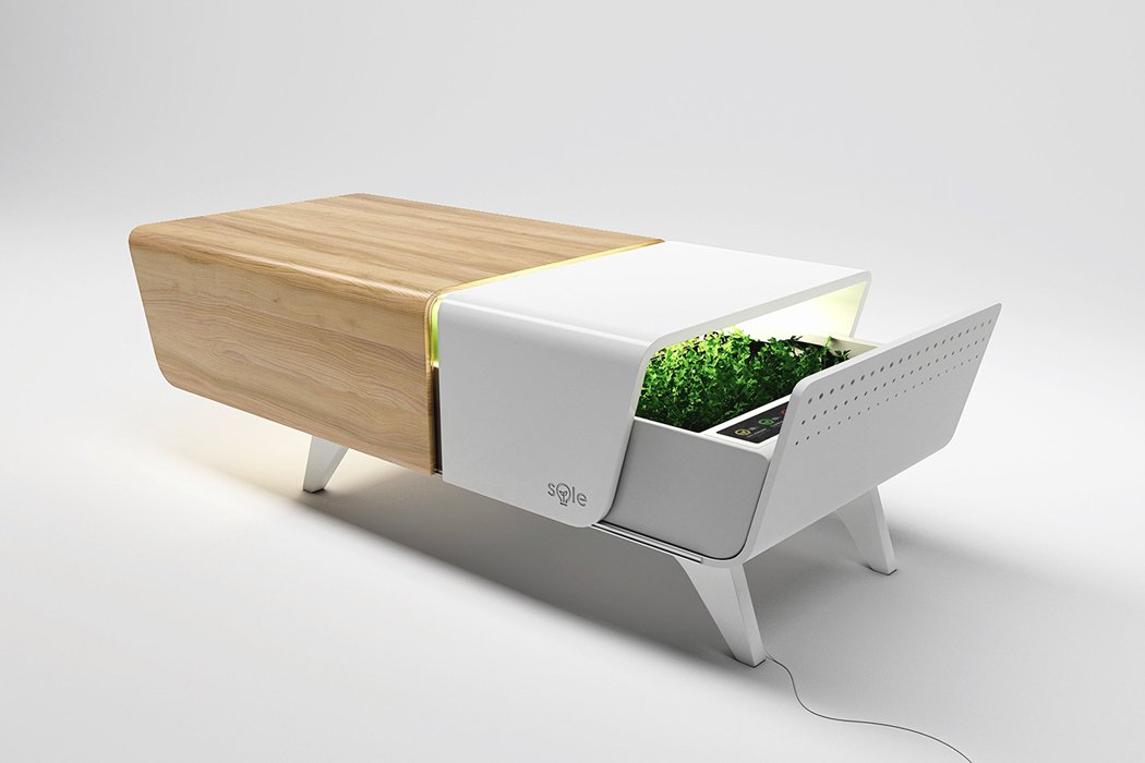 This coffee table's sliding indoor garden is the ultimate millennial-friendly plant parenting hack